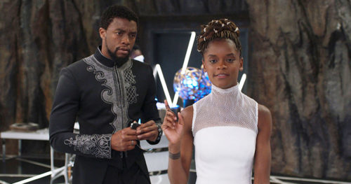 T'Challa as Black Panther and Shuri in her lab in Wakanda