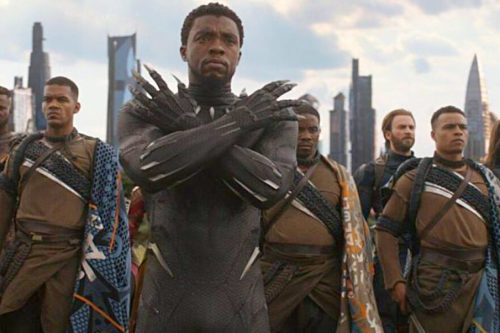 T'Challa as Black Panther shows the Wakanda salute