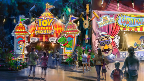 Toy Story Land concept art featuring Toy Story Mania