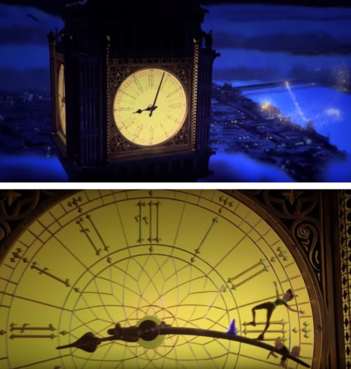 Peter Pan scene from MIckey's Philharmagic showing Big Ben