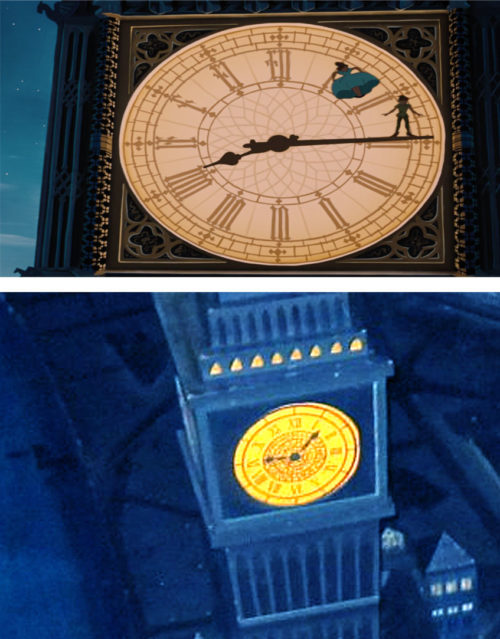 Comparing Peter Pan and Wendy on Big Ben from the movie with Magic Kingdom's Peter Pan's Flight