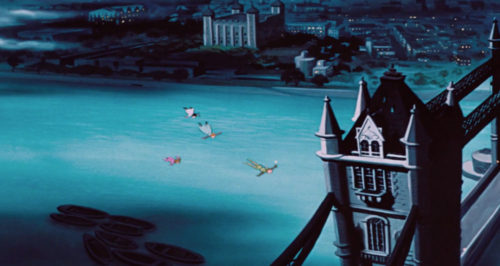 Peter Pan's flight over London to the Tower Bridge