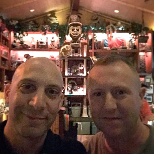 Parkeology's Ted and Shane and Trader Sam's in Disneyland
