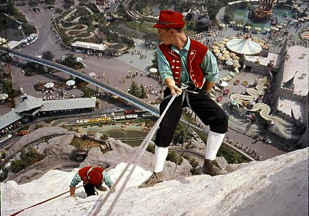 Climbers scale the Disneyland Matterhorn in the 1950s