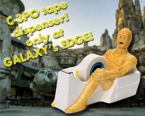 Ridiculous C-3PO tape dispenser at Star Wars Galaxy's Edge