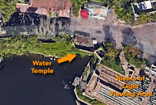 Animal Kingdom water temple shown next to Rivers of Light viewing area