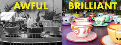 Comparison of Teacups rides in the 1950s