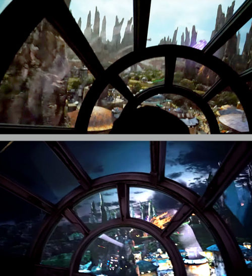 Millennium Falcon Smuggler's Run Day vs. Night