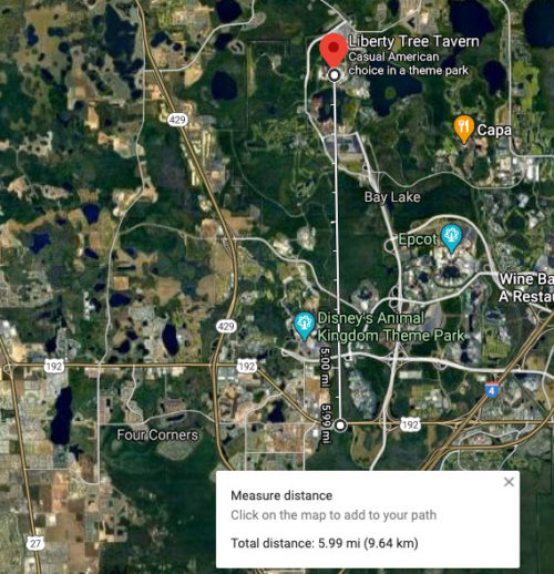 Google Maps shows 192 as exactly 6 miles from the Liberty Tree in Magic Kingdom
