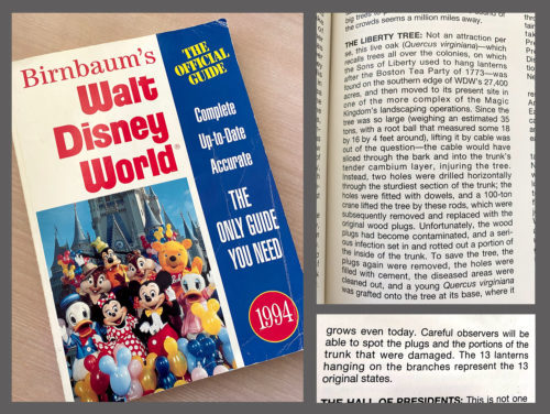 Birnbaum's Official Guide to Walt Disney World (1994) showcases many Liberty Tree details.