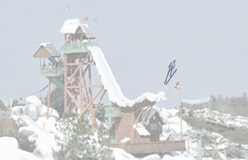 Ski jumper trains on Blizzard Beach's Mt. Gushmore