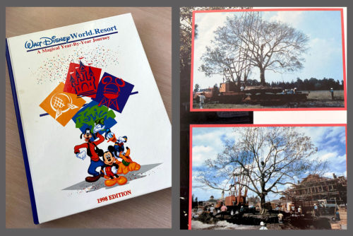 Walt Disney World Resort: A Magical Year-by-Year Journey from 1998 shows the Liberty Tree in transit.