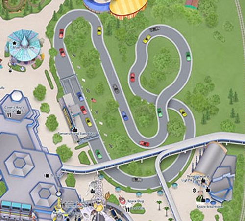 An overhead look at the Tomorrowland Speedway course
