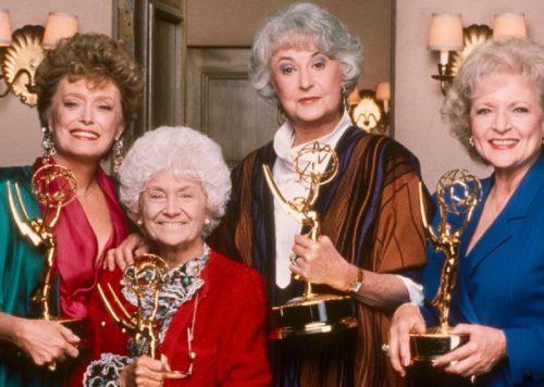 Golden Girls holding their Emmys